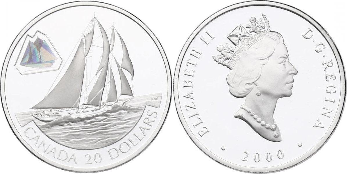 """20 Dollar 2000 Kanada Serie """": Transportmittel"""": - """"The Bluenose (Segelschiff)"""" (mit Hologramm) pp. im Originaletui mit Zertifikat"""