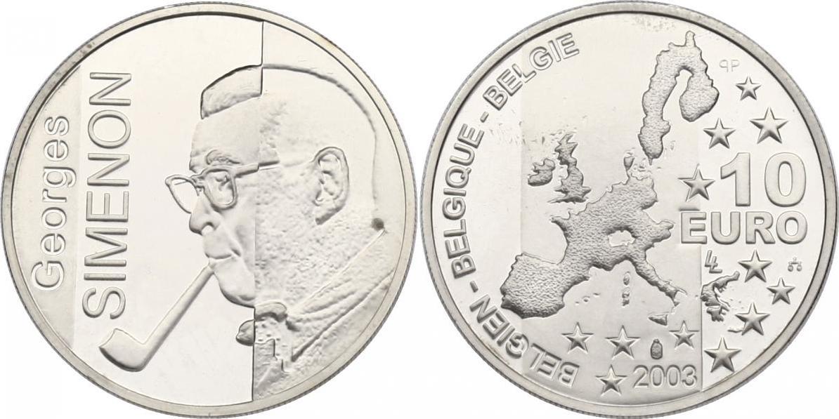 """10 Euro 2003 Belgien """"Georges Simenon"""" pp."""