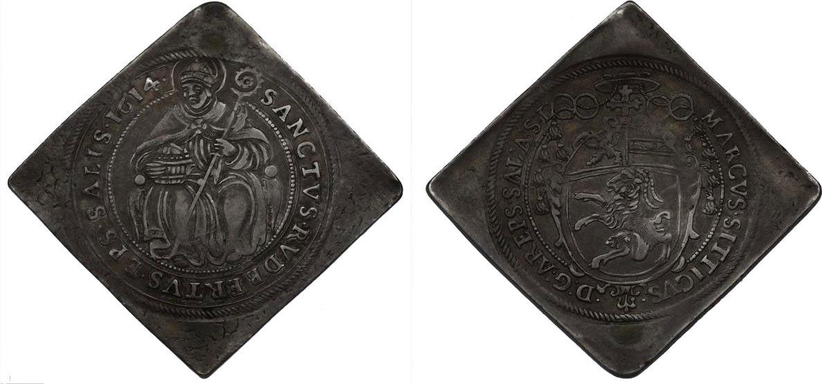 1/2 Talerklippe 1614 Österreich - Salzburg Markus Sittikus von Hohenems (1612 - 1619) ss-vz