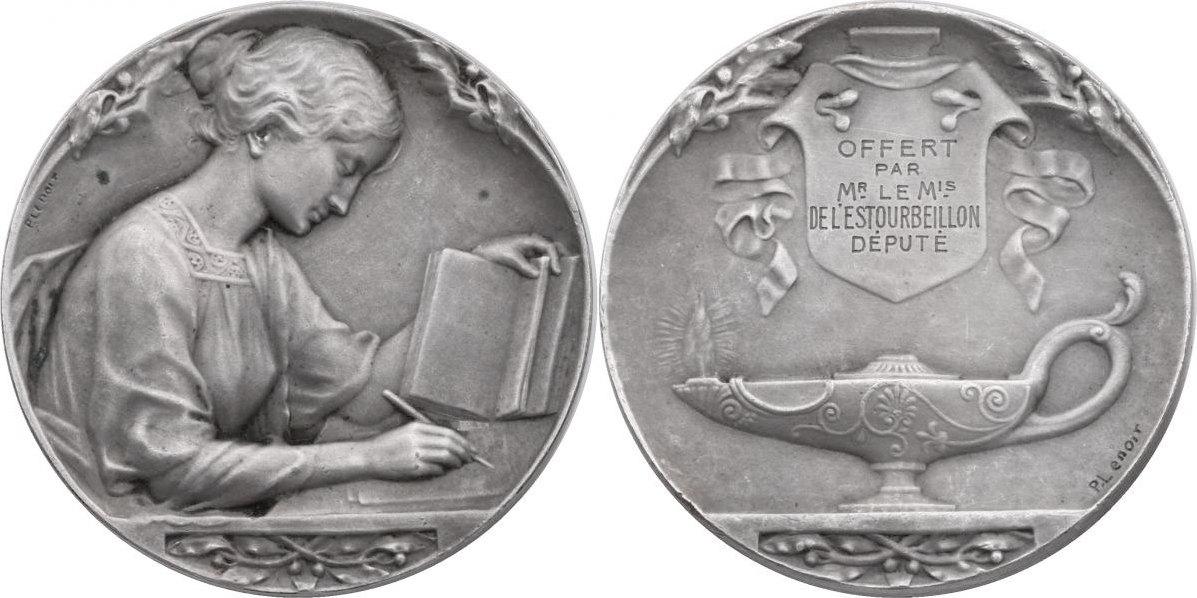 """Br-Medaille um 1900 Frankreich Art Deco (Jugendstil) - """"Junge Frau mit Buch"""" von Pierre Lenoir vz+, versilbert"""