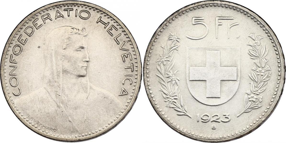 5 Franken 1923 Schweiz stgl.