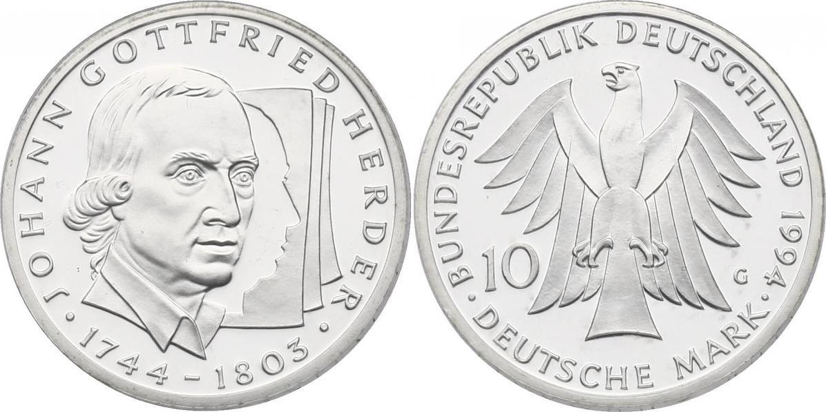 """10 Mark 1994 Deutschland """"Johann Gottfried Herder (1744 - 1803)"""" pp. im Noppenblister"""