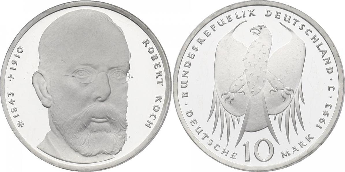 10 Mark 1993 Deutschland Robert Koch 1843 1910 Pp Im