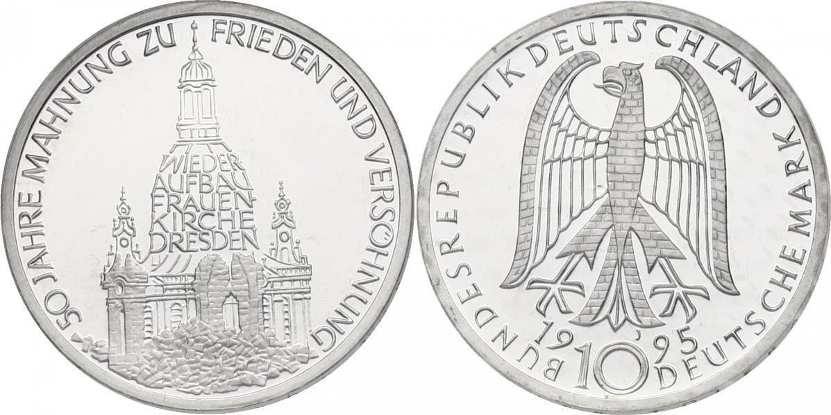 """10 Mark 1995 Deutschland """"50 Jahre Mahnung zu Frieden und Versöhnung"""" (Frauenkirche Dresden) pp. im Noppenblister"""