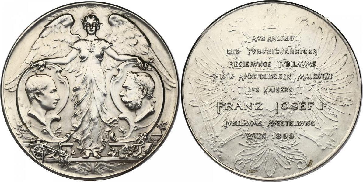 """Br-Medaille 1898 Österreich - Ungarn Franz Joseph (1848 - 1916) """"Auf das 50 jährige Regierungsjubiläum"""" stgl. versilbert"""