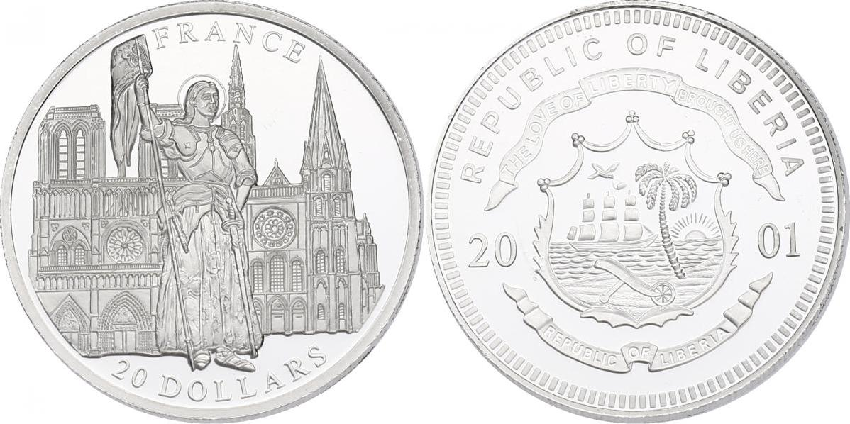 "20 Dollar 2001 Liberia ""France"" - Joanne d'Arc/Notre Dame pp."