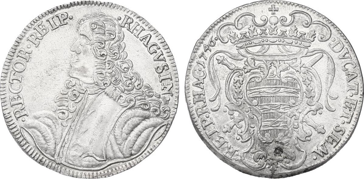 Taler 1746 Ragusa Rev. Druckstelle, vz