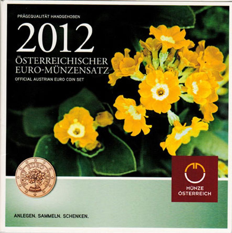 KMS (Cent - 2 Euro) 2012 Österreich - II. Republik Offizieller Kursmünzensatz (Münze Österreich) &quot: Schlüsselblume&quot: unc. im Originalblister