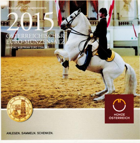 """KMS (Cent - 2 Euro) 2015 Österreich - II. Republik Offizieller Kursmünzensatz (Münze Österreich) """"Spanische Hofreitschule"""" unc. im Originalblister"""