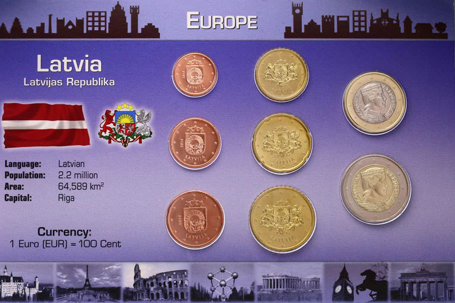 KMS (Cent - 2 Euro) 2014 Lettland Kursmünzensatz Lettland unc. im Blister