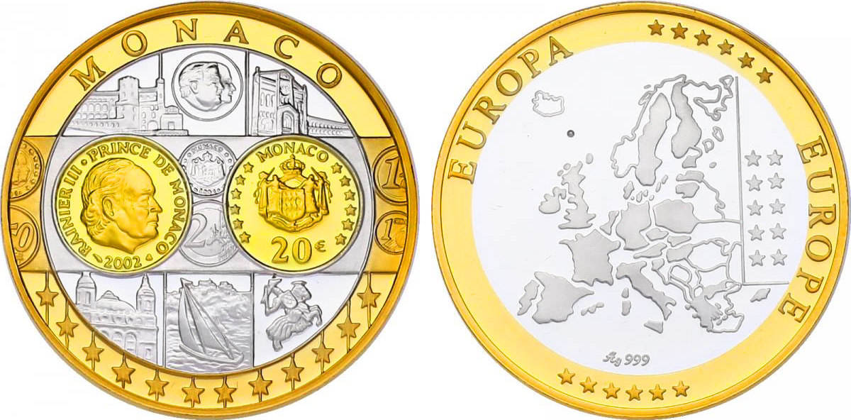 Ag Medaille Oj Erstabschlag Monaco Quot20 Euro 2002quot Pp