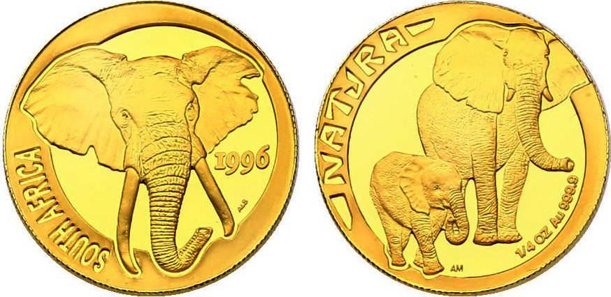 1/4 oz 1996 Südafrika NATURA - Elefanten pp.