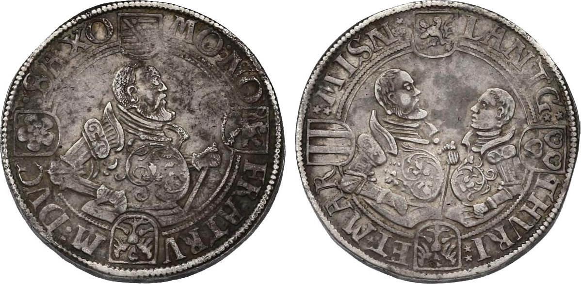 Taler o.J. Saalfeld Deutschland - Sachsen - Ernestiner Johann Friedrich II., Johann Wilhelm & Johann Friedrich III. (1554 - 1557) ss+