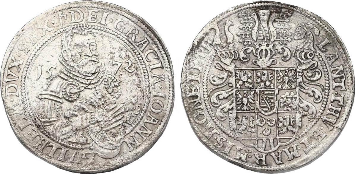 Taler 1572 Saalfeld Deutschland - Sachsen - Weimar Johann Wilhelm (1567 - 1573) ss+