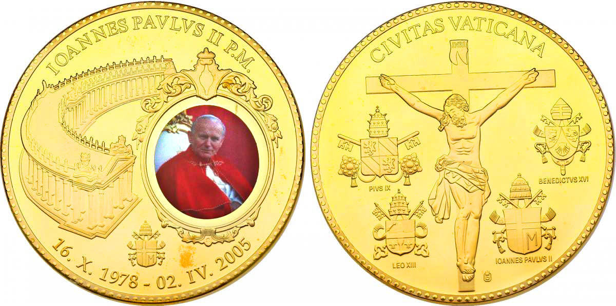 "Medaille 2011 Vatikan ""Papst Johannes Paul II."" (16.X. 1978 - 02.IV. 2005) mit Zertifikat pp. vergoldet mit Farbmotiv"