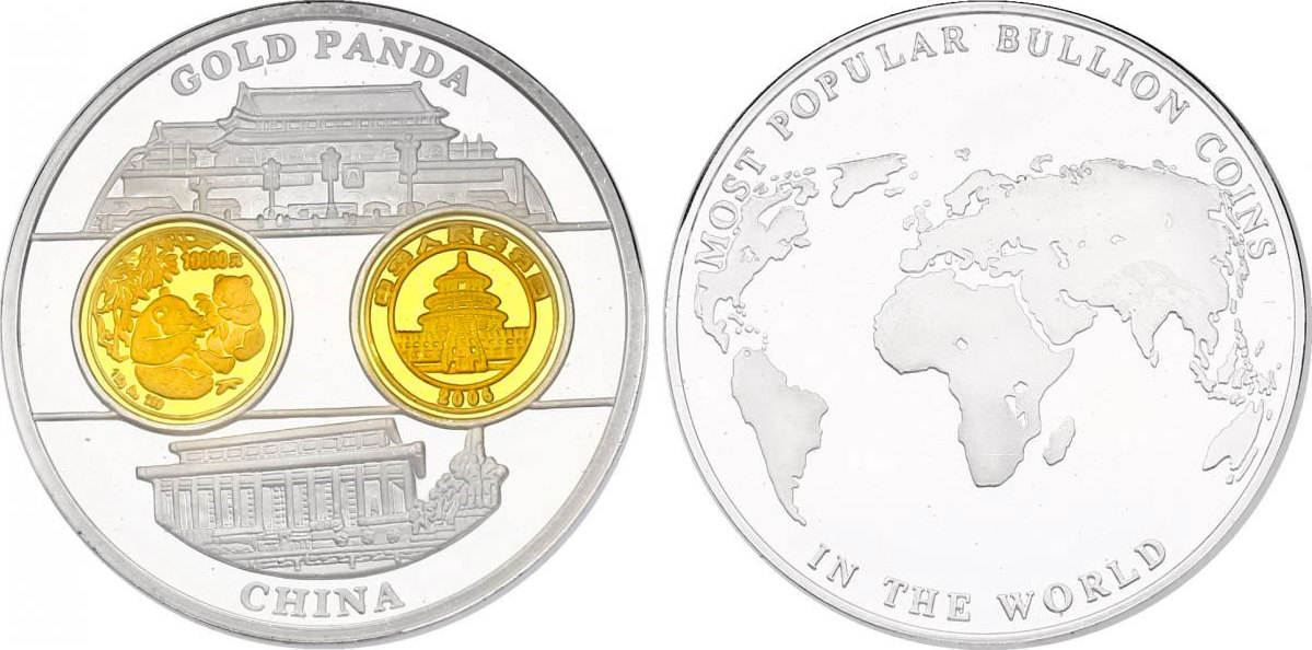 "Medaille 2006 China Serie ""Most popular bullion coins in the world"" - 10000 Yuan 2006 Panda pp. mit Goldapplikation"