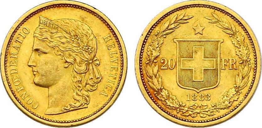 20 Franken 1883 Schweiz vz+