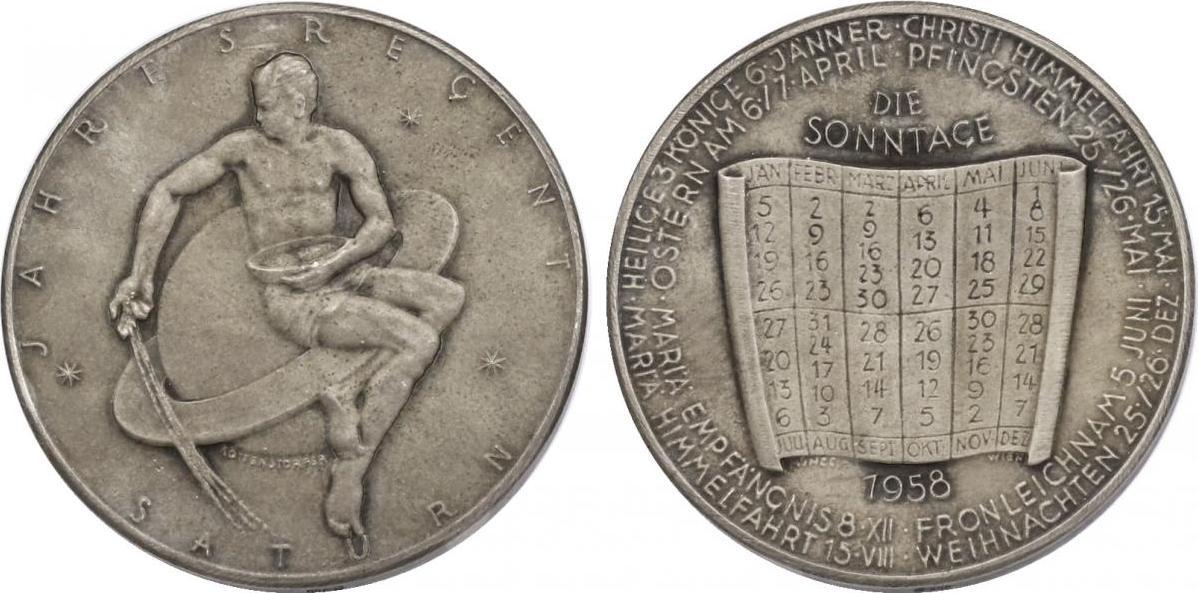 "Ag-Medaille 1958 Österreich Kalendermedaille - Jahresregent ""Saturn"" vz"