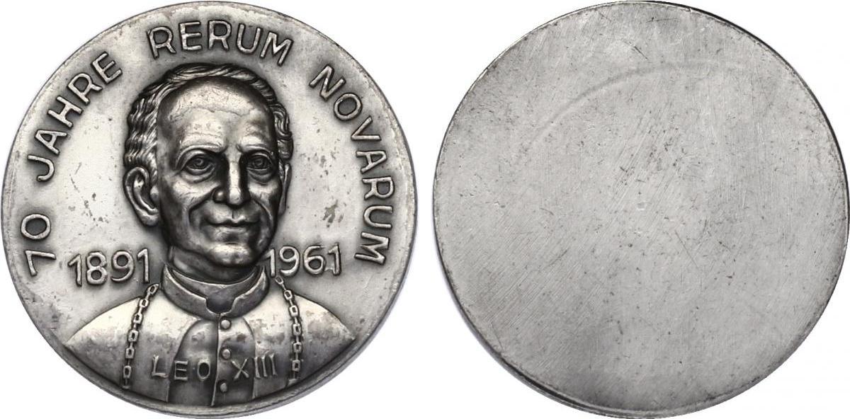 """Medaille 1961 Vatikan """"70 Jahre Rerum Novarum 1891 - 1961"""" (Leo XIII.) vz, einseitig"""