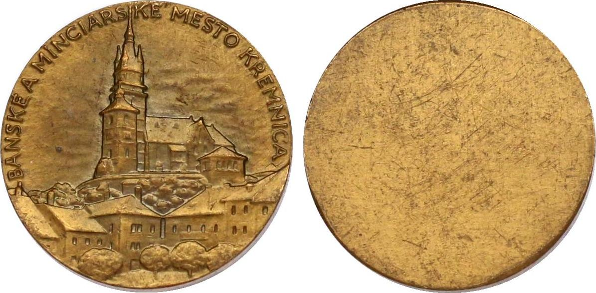 Medaille o.J. Slowakei Stadtansicht Kremnitz vz, einseitig