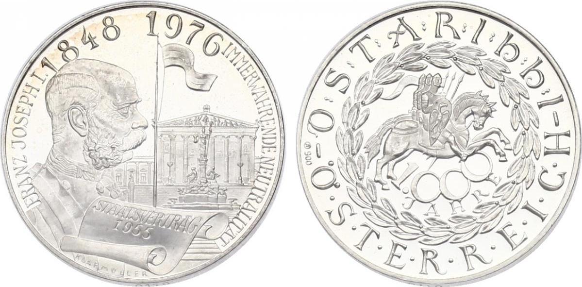 """Ag-Medaille o.J. Österreich Serie """"1000 Jahre Österreich"""" - Franz Joseph pp."""
