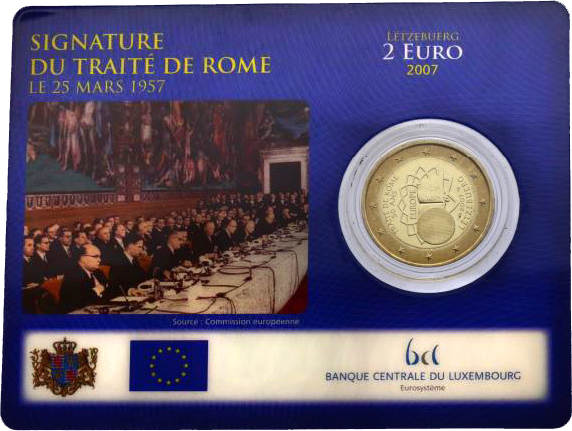 """2 Euro 2007 Luxenburg """"50 Jahre Römische Verträge"""" unc. in Plastik-Münzkarte"""