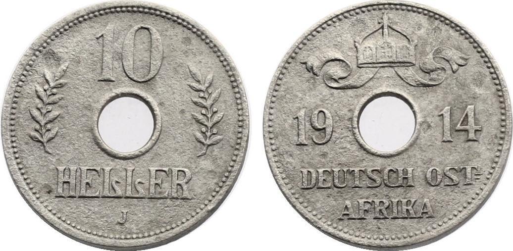 10 Heller 1914 J Deutsch - Ostafrika ss+