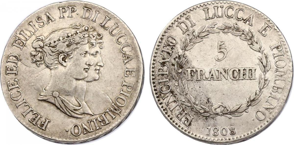 5 Frachi 1808 Italien - Lucca Felice (Felix) & Elisa (1805 - 1814) ss+