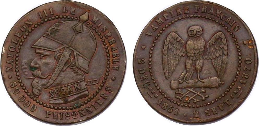 "Spottmedaille 1870 Frankreich Napoleon III. (1852 - 1870) ""le miserable"" min. Rf, vz"