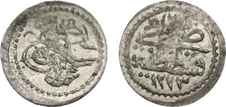Akce 1223/2 (1809) Türkei Mahmud II (1808 - 1839) übl. Prägeschwäche, vz