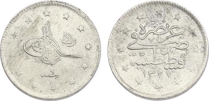 2 Kurush 1327/6 (1914) Türkei Muhammad V. (1909 - 1918) vz-