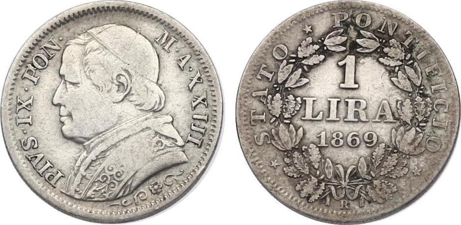 Lira 1869 R (XIII) Vatikan Pius IX. (1846 - 1878) ss