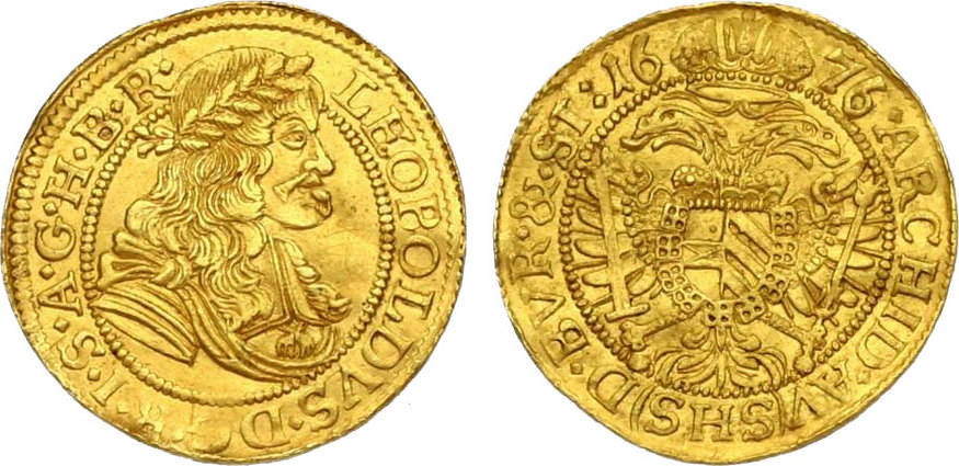 Dukat Breslau 1676 SHS RDR Leopold I. (1657 - 1705) min. gewellt, vz, R