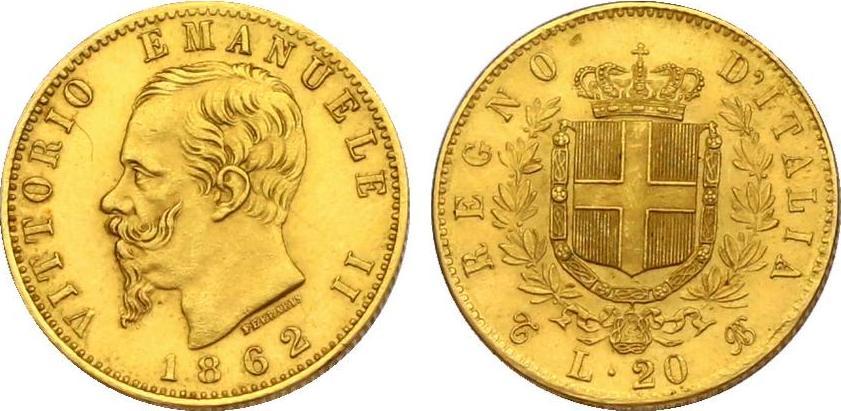 20 Lire 1862 T/BW Italien Viktor Emanuel II. (1849 - 1878) f.stgl.