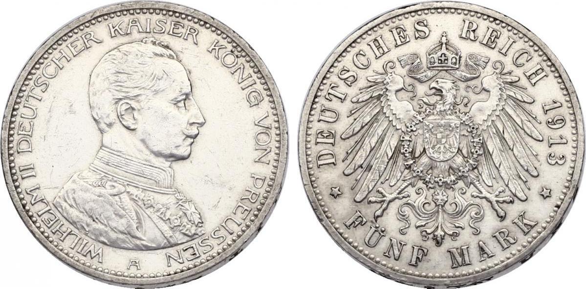 5 Mark 1913 A Deutschland - Preussen+ Wilhelm II. (1888 - 1918) vz