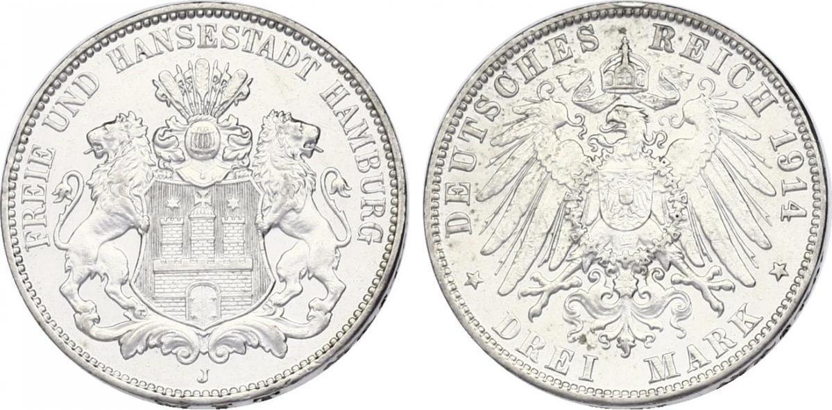3 Mark 1914 J Deutschland - Hamburg vz-stgl.