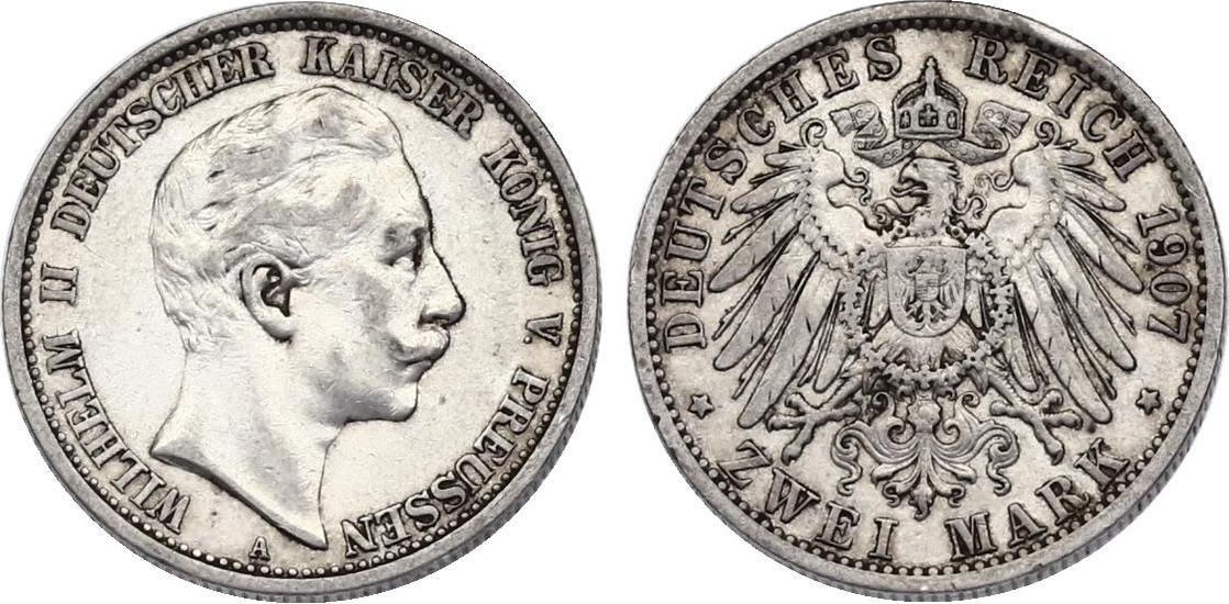 2 Mark 1907 A Deutschland - Preussen Wilhelm II. (1888 - 1918) ss-vz