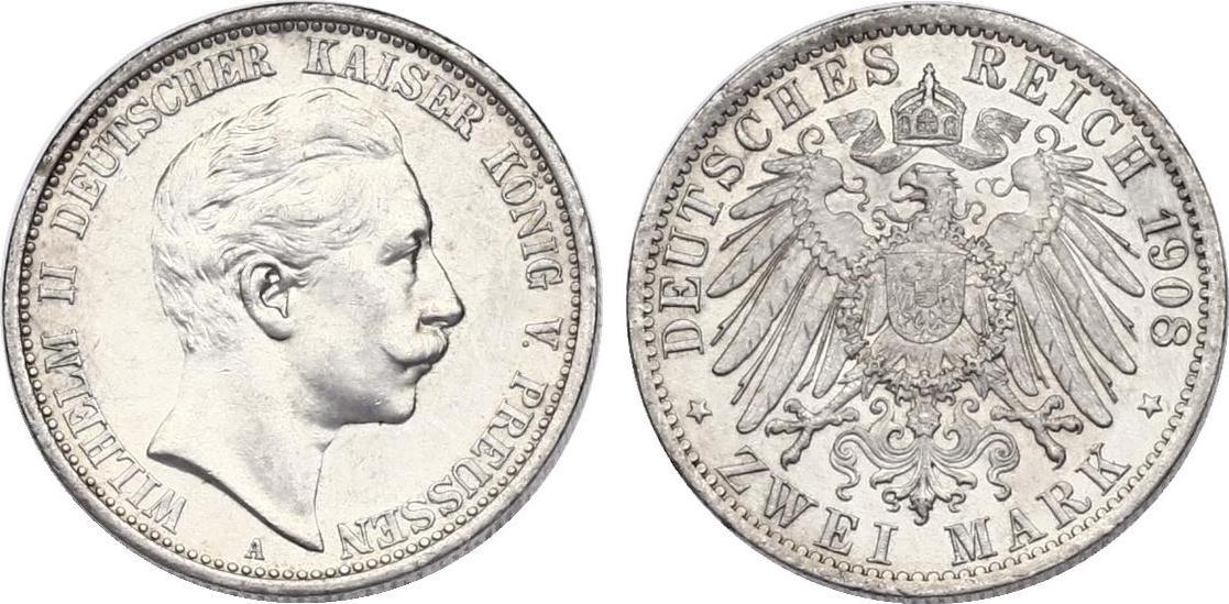 2 Mark 1908 A Deutschland - Preussen Wilhelm II. (1888 - 1918) vz+/stgl.