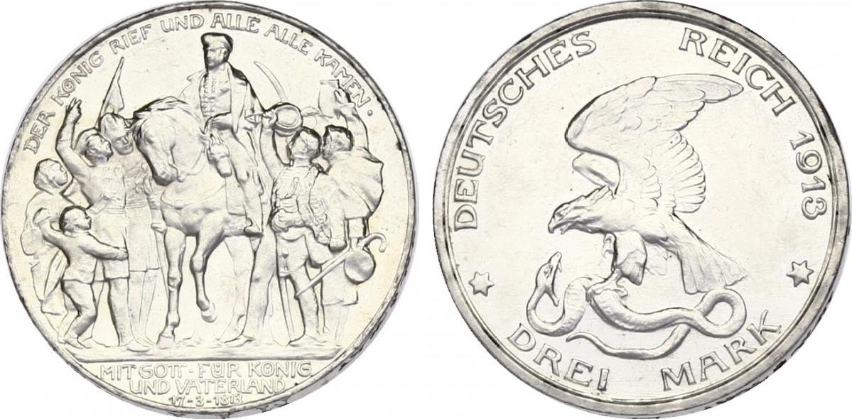 3 Mark 1913 D Deutschland - Preussen Wilhelm II. (1888 - 1918) stgl.
