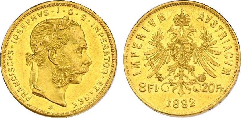 8 Gulden 1882 Österreich - Ungarn Franz Joseph (1848 - 1916) vz