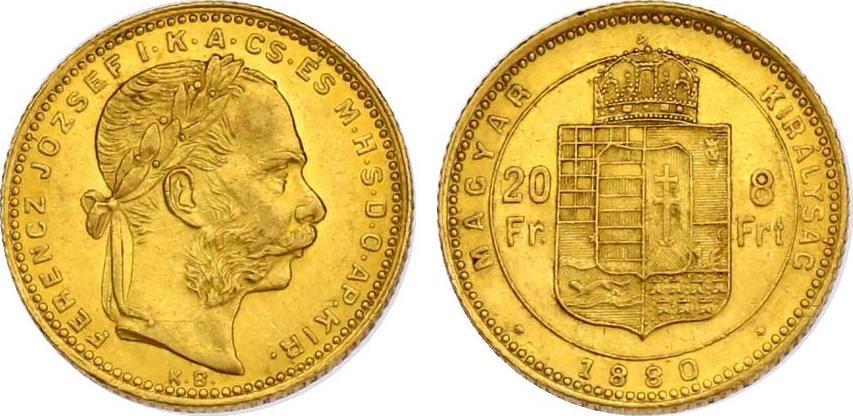 8 Forint 1880 KB Österreich - Ungarn Franz Joseph (1848 - 1916) vz-stgl.