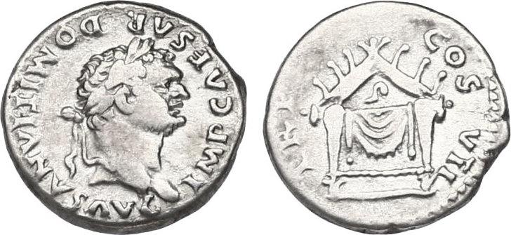 Denar Römische Kaiserzeit (Flavier) Titus Flavius Domitianus als AUGUSTUS (81 - 96) ss, R