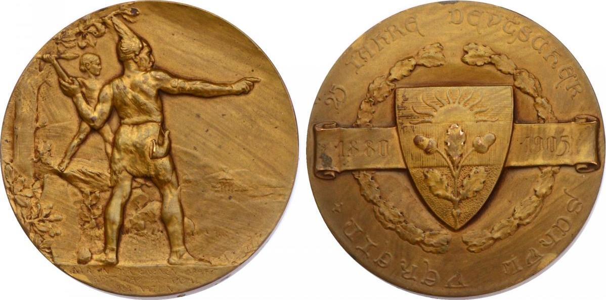 """Br-Medaille 1905 Österreich - Ungarn """"25 Jahre deutscher Schulverein"""" (1880 -1905) - Germane & Knabe beim Speerwerfen vz"""