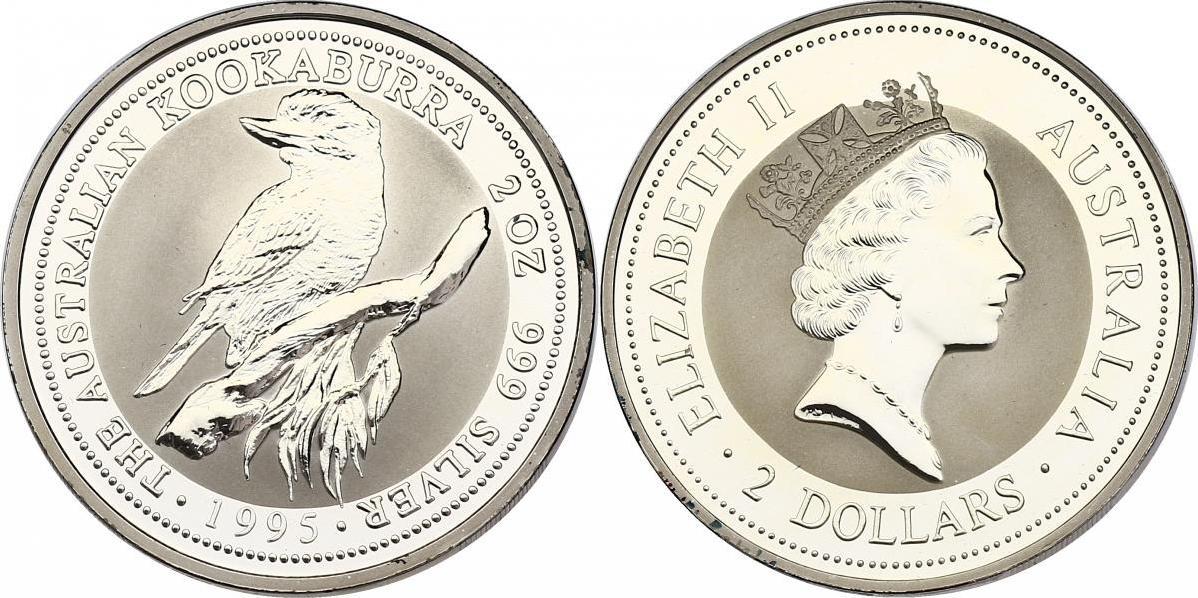 2 Dollar (2 oz) 1995 Australien The Australian Kookaburra 1995 unc. in Hartplastikhülle