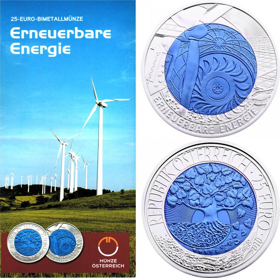 """25 Euro 2010 Österreich """"Erneuerbare Energie"""" hdgh. LOSE (ohne Etui mit Zertifikat)"""