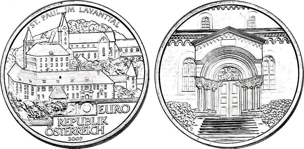 10 Euro 2007 Österreich Stifte und Klöster in Österreich - Kloster St. Paul im Lavanttal pp. im Etui mit Zertifikat