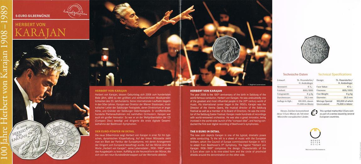 5 Euro 2008 Österreich 100. Geburtstag von Herbert von Karajan hdgh. im Blister
