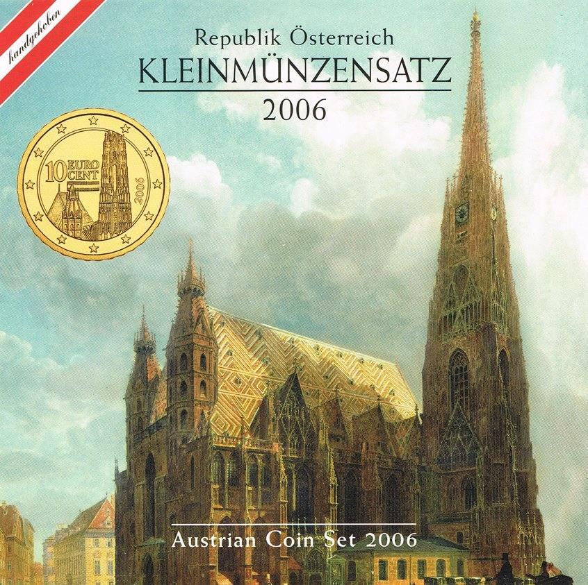 3,88 Euro (1 Cent - 2 Euro) 2006 Österreich Kursmünzensatz KMS Stephansdom stgl. in Blister