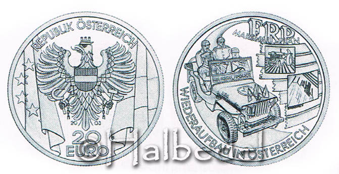 20 Euro 2003 Österreich Die Nachkriegskeit mit Zertifikat, OHNE Etui! pp.