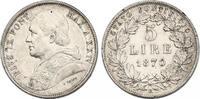 5 Lire 1870 R (XXIV) Vatikan Pius IX. (1846 - 1878) vz  350,00 EUR  zzgl. 9,90 EUR Versand